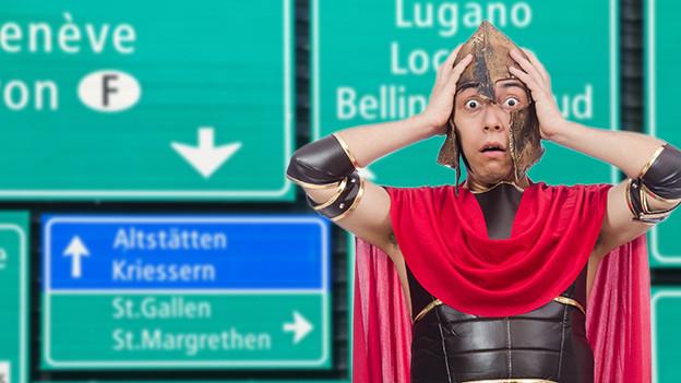 Römischer Legionär schlägt Hände über seinem Kopf zusammen. Hinter ihm ein Schildermeer an Schweizer Autobahnschildern.