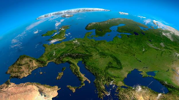 3D-Grafik mit Blick von oben auf Europa mit Mittelmeer und Atlantik.
