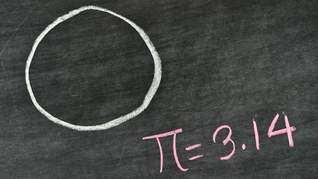 Ein Kreidekreis auf einer Wandtafel und dazu die Formel Pi=3,14.