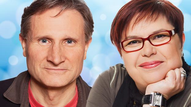 Foto-Collage mit dem Moderator und der Moderatorin der Sendung.