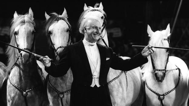 Fredy Knie senior in der Manege vor vier weissen Pferden.
