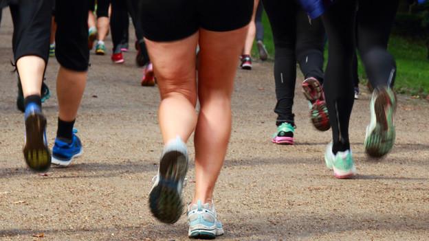 Viele Beine von Joggerinnen und Joggern.