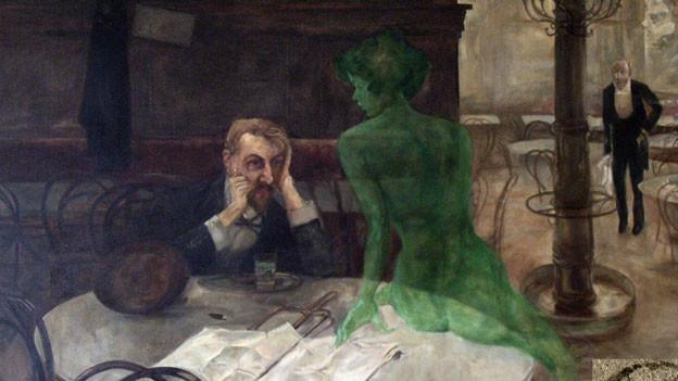 Absinth-Trinker sitzt betrunken am Tisch, auf dem eine grüne Fee sitzt.
