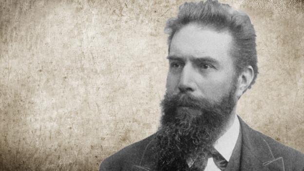 Bildcollage mit einem Porträt des Physikers auf einem Vintage-Background.