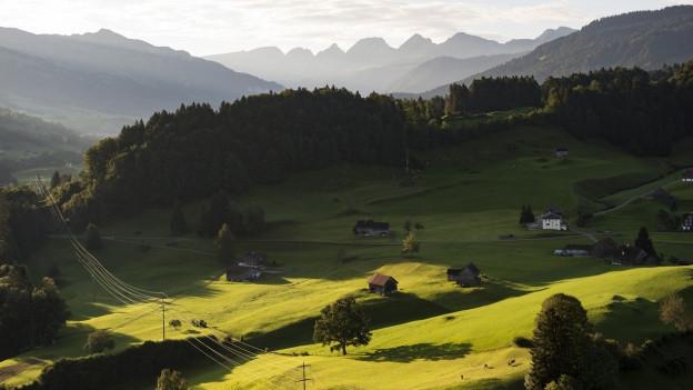 Blick Toggenburger Landschaft und die Bergkette der Churfirsten im Hintergrund,