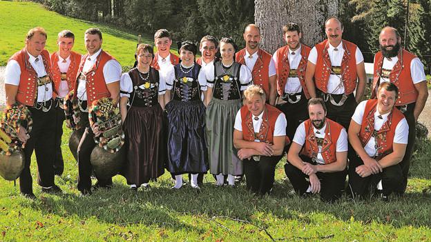 Gesamter Jodelklub auf Alpwiese.