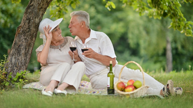 Zwei Senioren auf Picknickdecke mit Äpfeln und Wein