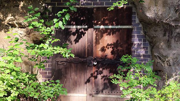 Ein Holztür in einem Felsen.