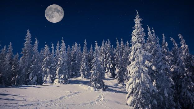 Hügelige Schneelandschaft und darüber ein Vollmond.