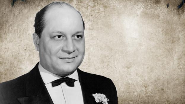 Bildcollage mit einen Porträtfoto von Barney Bigard auf einem Vintage-Hintergrund.