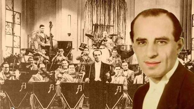 Porträt des Orchesterleiters auf einem Bild der Dance Band.