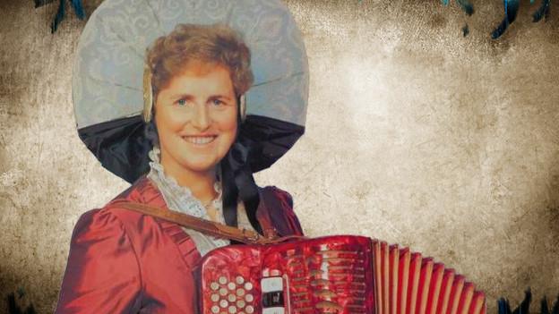Fotocollage mit einem Porträt der Jodlerin auf einem auf alt getrimmten Hintergrund.