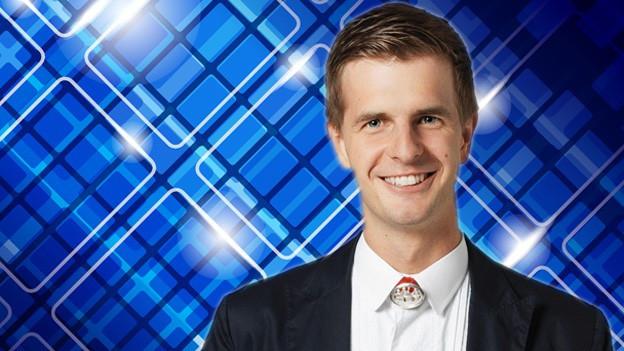 Bildcollage mit dem Moderator vor einem festlichen Hintergrund.