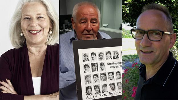 Drei Senioren Porträtfotos.