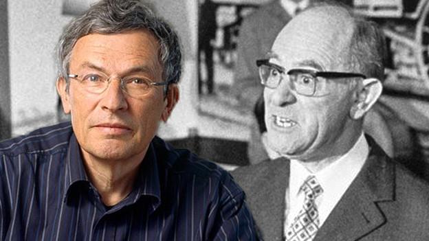 Fotocollage mit den Porträts von Lewinsky und Jäggi.