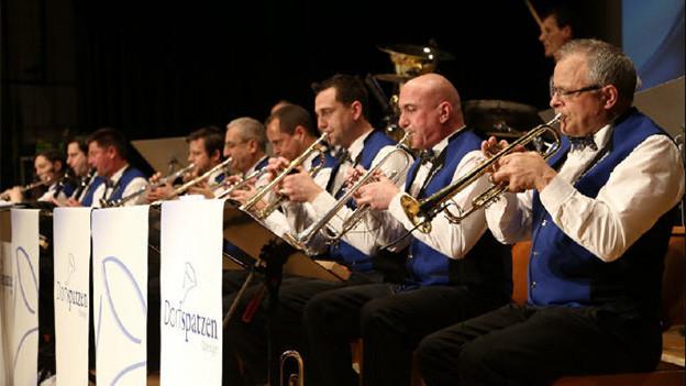 Musikantinnen und Musikanten in weissen Hemden und blauen Gilets spielen im Sitzen.