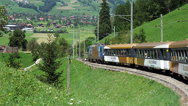 Eine Zug rollt Richtung Tal.