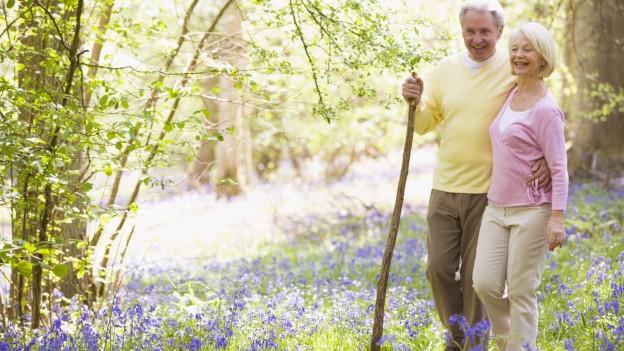 Seniorenpaar im Wald im Frühling.