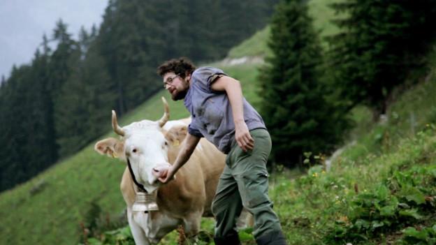 Senn mit störrischer Kuh auf der Alpweide.