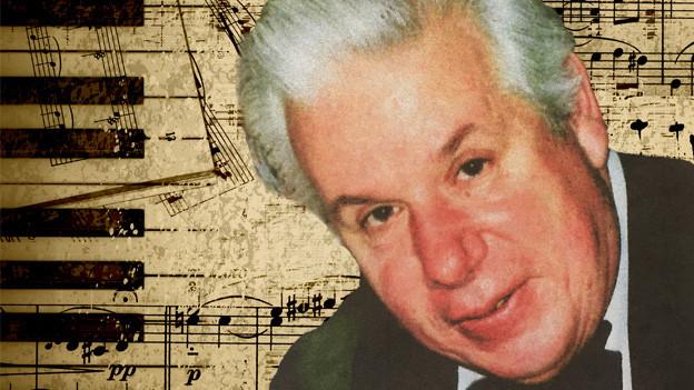 Bildcollage mit einem Herrenporträt und Musiknoten.