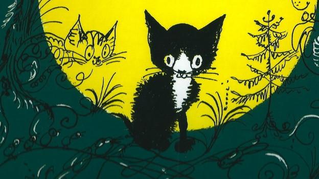 Das Kätzchen Pitschi auf dem Cover des entsprechenden Bilderbuchs.