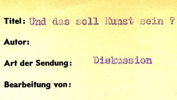 So ist die Aufnahme von 1960 im Radioarchiv angeschrieben.