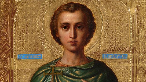 Ein Gemälde mit dem Heiligen Bonifatius von Tarsus.