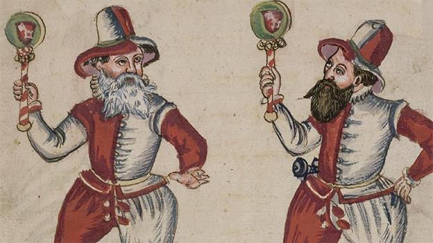 Zeichnung mit zwei rot-weiss gekleideten Männern.