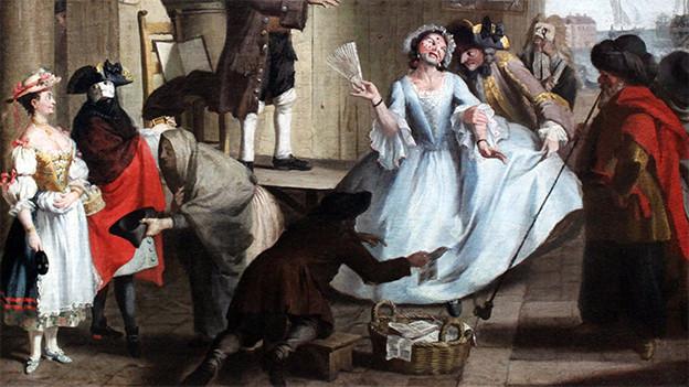 Ein Gemälde mit einer mittelalterlichen Markt-Szene.