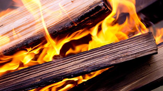 Kleine und grössere brennende Holzscheite.