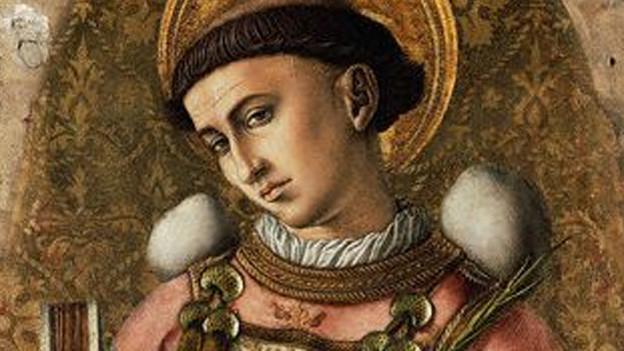 Ein Heiligenbild mit einem jungen Mann.
