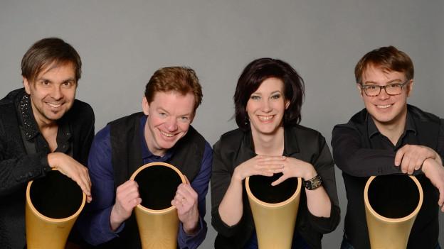 «hornroh» v.l.n.r.: Balthasar Streiff, Michael Büttler, Jennifer Tauder, Lukas Briggen.