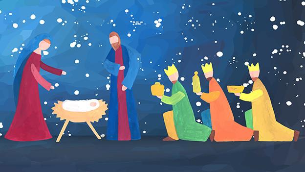 Kinderzeichnung mit Maria, Josef, Krippe und drei knieenden Königen.