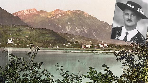 Bildcollage mit einem Porträt auf einem Landschaftsbild.