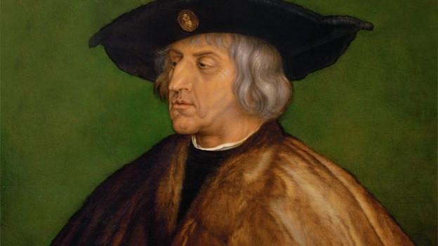 Gemälde von einem Mann mit breitem Hut und Pelzmantel.