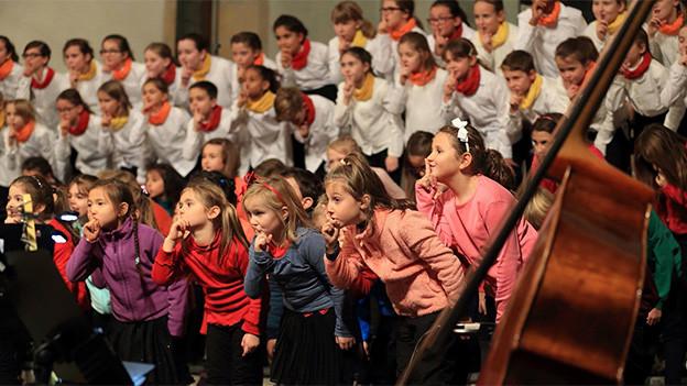 Ein grosser Chor mit Mädchen und Buben.
