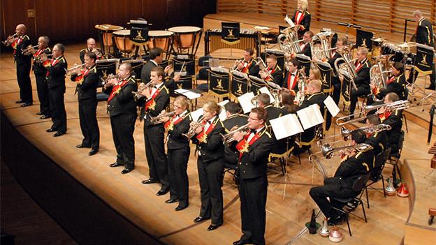 Eine Brass Band auf einer Konzertbühne.