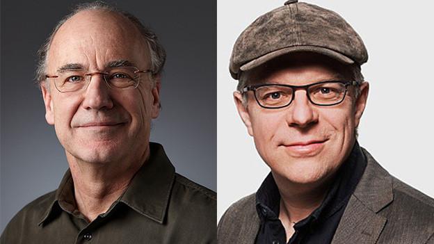 Bildcollage mit Porträts zweier Männer.