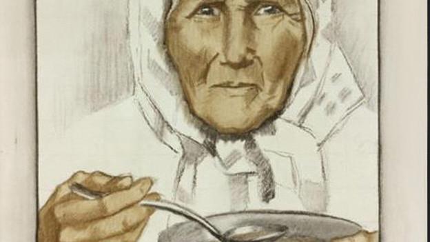 Alte Frau isst Suppe.