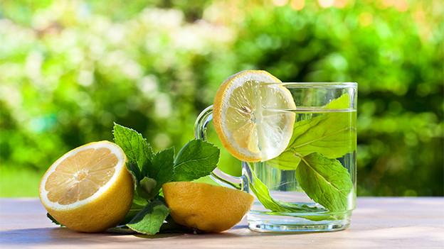 Minzeblätter, Wasserglas und aufgeschnittene Zitronen.