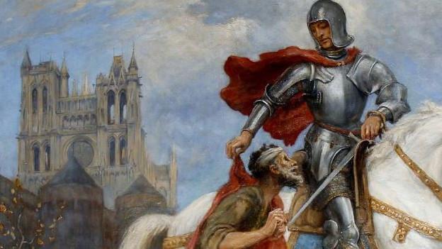 Ritter auf Pferd wird von Bettler angefleht.