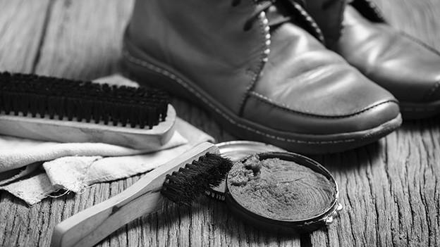 Stillleben mit Schuhen und Schuhputzutensilien.