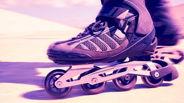 Grossaufnahme von Inline Skates.