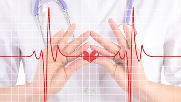 Bildcollage mit Oberkörper einer Krankenschwester, Fieberkurve und Herz.