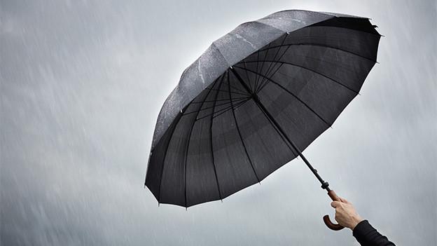 Ein dunkler Regenschirm unter grauen Regenwolken.