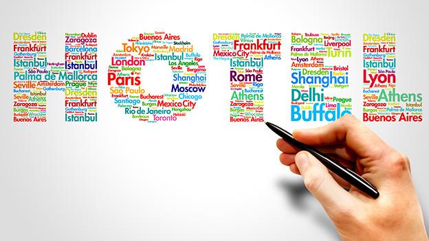 Das Wort Hotel gebildet aus verschiedenen Städtenamen.