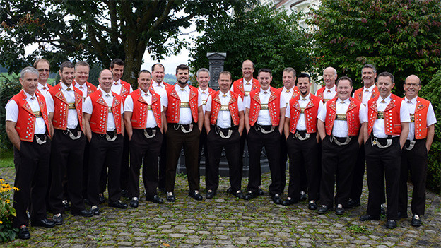 Gruppenbild von Jodlern in Appenzeller Trachten.