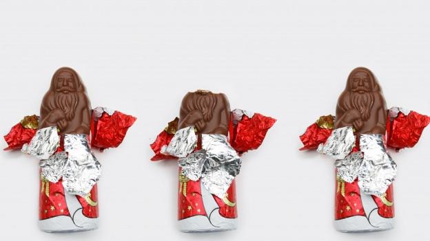 Drei Samichläuse aus Schokolade.