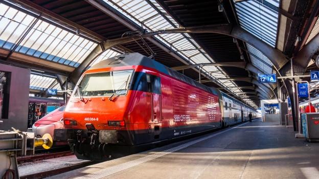 Roter Zug steht im Bahnhof Zürich.