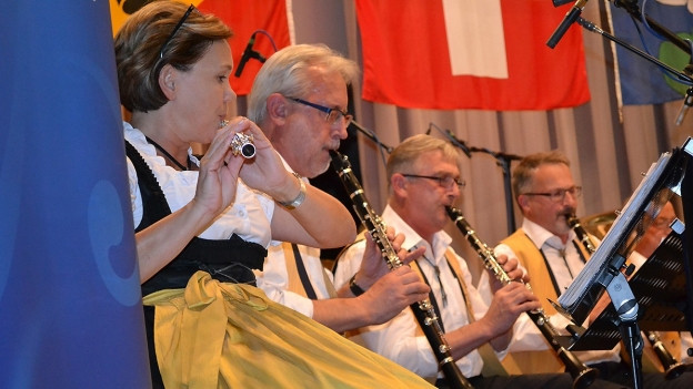 Die Schlossberg Musikanten Uster während ihrem Auftritt am Radiowettbewerb 2017 in Lyss.